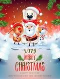 2019 glad affisch för jul & för nytt år stock illustrationer