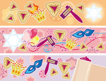 Glad background to the Purim. Set of three banners to the Jewish merry holiday Purim Royalty Free Stock Photos