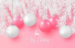 2019 glad bakgrund för jul och för lyckligt nytt år för feriehälsningkortet, affisch, baner Härliga trädbollar, vit trädkli vektor illustrationer