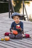 Glad boy sitting with pumpkins and apples Royalty Free Stock Photo