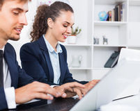 Glad business female assistant wearing formalwear using laptop. In company office Royalty Free Stock Image