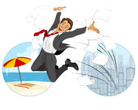 Glad businessman jumping Stock Photos