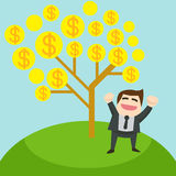 The glad businessman is standing under the tree of money.  Royalty Free Stock Images