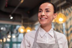 Glad cheerful waitress waiting for new client Stock Photos