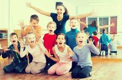 Glad children  in dance studio having fun Stock Images