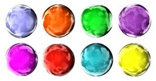 Glad colorful buttons. 3d generated eight shiny color buttons isolated on white background Stock Image