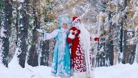 Glad Ded Moroz Father Frost e camminata nubile sorridente di SnegurochkaSnow nella foresta nevosa video d archivio