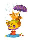 Glad ekorre som går i regnet med ett paraply och låsregndroppar Fotografering för Bildbyråer
