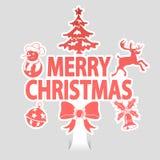 glad etikett för jul Arkivbilder