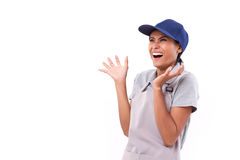 Glad, exited female worker looking up Royalty Free Stock Photo