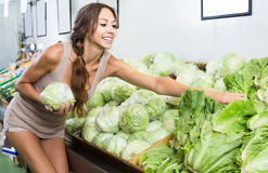 Glad female customer holding fresh iceberg salad Royalty Free Stock Photos