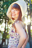 Glad Girl In A Hat Stock Photography