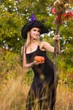 Glad girl in witch costume with broomstick Royalty Free Stock Photos
