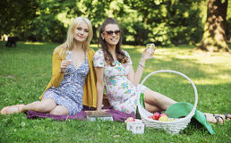 Glad girls relaxing on the blanket Royalty Free Stock Image