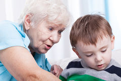 Glad grandma with little boy Stock Photography