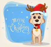 glad greeting för kortjul Gullig hund som bär den Santa Claus hatten stock illustrationer