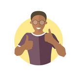 Glad, joyful, cheerful black boy in glasses. Flat design icon of handsome african man with thumbs up. Cool, joy, optimistic emotio Stock Photos