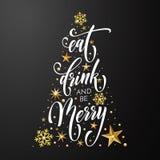 Glad jul äter bakgrund för det nya året för garnering för vektorn för kortet för drinkaffischhälsningen guld- royaltyfri illustrationer