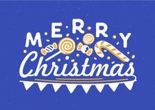 Glad jul önskar skriftligt med den eleganta kursiva calligraphic stilsorten Handskriven feriebokstäver som dekoreras med flaggan royaltyfri illustrationer
