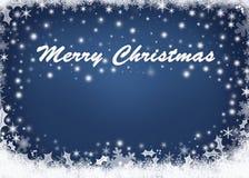 Glad jul över abstrakt begreppblåttbakgrund Royaltyfri Fotografi