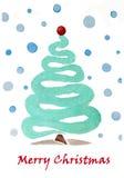 Glad jul! Abstrakt vattenfärgillustration vektor illustrationer