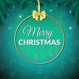 glad jul bakgrundsfärger semestrar röd yellow Xmas-hälsningkort med struntsaken affisch Royaltyfria Foton