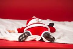 Glad jul behandla som ett barn Santa Claus baksidasikt Royaltyfri Foto
