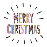 glad jul Blänker handskriven bokstäver för modern kalligrafistil med guld- Arkivfoto