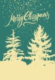 glad jul Calligraphic retro julkortdesign med vinterlandskap också vektor för coreldrawillustration Royaltyfri Fotografi