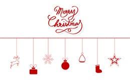 Glad jul, designen för meddelandet för kalligrafibandstil, garnering, renen, gåvan, snöflingor, hatt av Santa Claus, socka, klump vektor illustrationer