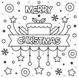 glad jul Färga sidan Svartvit vektorillustration arkivfoton