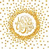 Glad jul för guld- calligraphic inskrift Royaltyfria Bilder