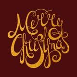 Glad jul för guld- calligraphic inskrift Royaltyfri Fotografi