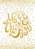 Glad jul för guld- calligraphic inskrift Fotografering för Bildbyråer