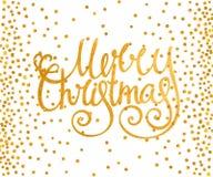 Glad jul för guld- calligraphic inskrift Royaltyfri Bild