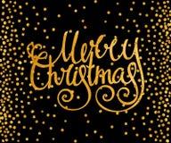 Glad jul för guld- calligraphic inskrift Arkivfoto