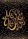 Glad jul för guld- calligraphic inskrift Arkivbild