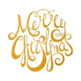Glad jul för guld- handskriven inskrift Royaltyfri Bild