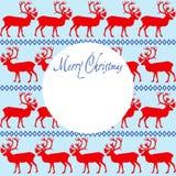 Glad jul för hälsningkort med renprydnaden stock illustrationer