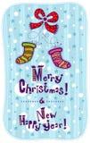 Glad jul för hälsningkort och lyckligt nytt år Royaltyfri Bild