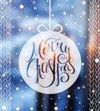 Glad jul för Handdrawn calligraphic inskrift Royaltyfri Fotografi