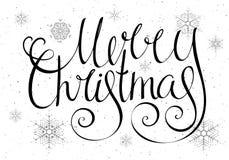 Glad jul för Handdrawn calligraphic inskrift Arkivfoton