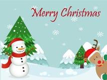 Glad jul för julkort med snögubben Royaltyfri Fotografi