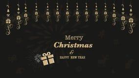 Glad jul för kort eller för baner och för guldfärg för lyckligt nytt år svart bakgrund 2019 royaltyfri illustrationer