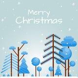 Glad jul för kort med plana träd royaltyfri illustrationer