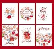 Glad jul för lyckönskan och lyckligt nytt år Pepparkakakakor som isoleras på vit bakgrund stock illustrationer
