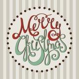 Glad jul för Retro calligraphic inskrift Royaltyfri Foto