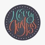 Glad jul för Retro calligraphic inskrift Royaltyfri Fotografi