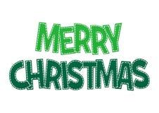 Glad jul för söt grön bokstäver på en vit bakgrund Royaltyfri Fotografi