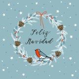 Glad jul för tappning, spanskt Feliz Navidad hälsningkort, inbjudan Krans som göras av vintergröna filialer, bär vektor stock illustrationer